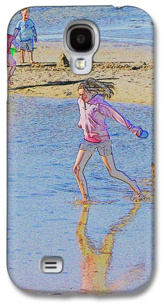 Dog Walking Digital Galaxy S4 Cases - Another day at the Beach Galaxy S4 Case by William Sargent