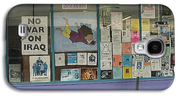 Iraq Posters Galaxy S4 Cases - Anti-Iraq War posters 4th avenue book store window Tucson Arizona 2000 Galaxy S4 Case by David Lee Guss
