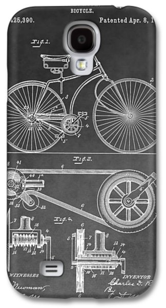 20th Drawings Galaxy S4 Cases - Antique Bicycle Patent Black And White Galaxy S4 Case by Dan Sproul