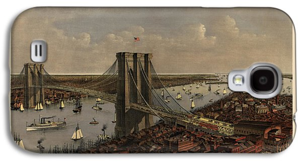 Antique Birds Eye View Of The Brooklyn Bridge And New York City By Currier And Ives - 1885 Galaxy S4 Case by Blue Monocle