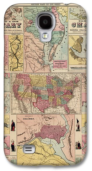 Art Mobile Galaxy S4 Cases - Antique Civil War Map by Egbert L. Viele - circa 1861 Galaxy S4 Case by Blue Monocle