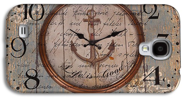 Nature Abstract Galaxy S4 Cases - Antique Clock Anchor Vintage Wallpaper Galaxy S4 Case by Art World