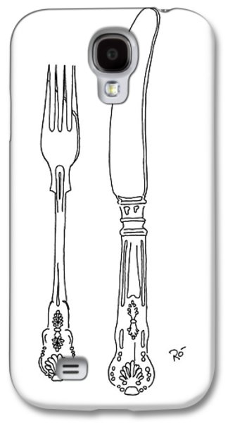Interior Still Life Drawings Galaxy S4 Cases - Antique Cutlery Duo Galaxy S4 Case by Roisin O Farrell