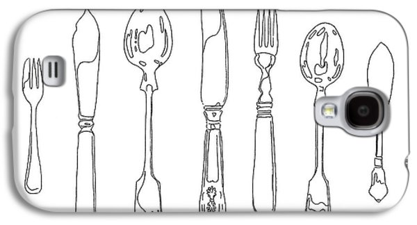 Interior Still Life Drawings Galaxy S4 Cases - Antique Cutlery Full House Galaxy S4 Case by Roisin O Farrell