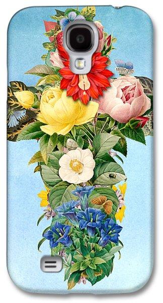 Digital Galaxy S4 Cases - Antique Flower Cross Galaxy S4 Case by Gary Grayson