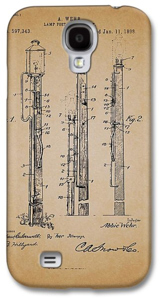 Pole Drawings Galaxy S4 Cases - Antique Lamp Post Attachment Patent Galaxy S4 Case by Mountain Dreams
