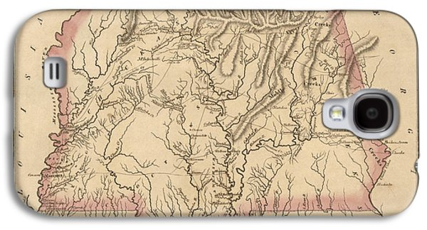 Alabama Galaxy S4 Cases - Antique Map of Alabama and Mississippi by Fielding Lucas - circa 1817 Galaxy S4 Case by Blue Monocle