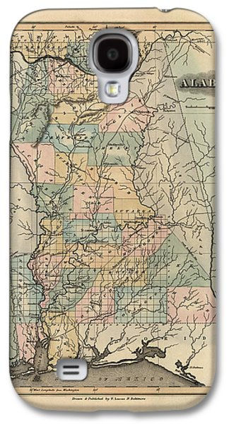 Alabama Galaxy S4 Cases - Antique Map of Alabama by Fielding Lucas - 1826 Galaxy S4 Case by Blue Monocle