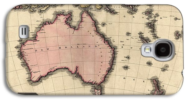 Australia Drawings Galaxy S4 Cases - Antique Map of Australia and the Pacific Islands by John Pinkerton - 1818 Galaxy S4 Case by Blue Monocle