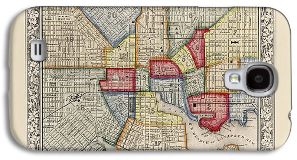 Baltimore Galaxy S4 Cases - Antique Map of Baltimore Maryland by Samuel Augustus Mitchell - 1863 Galaxy S4 Case by Blue Monocle