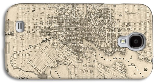 Map Drawings Galaxy S4 Cases - Antique Map of Baltimore Maryland by Sidney and Neff - 1851 Galaxy S4 Case by Blue Monocle