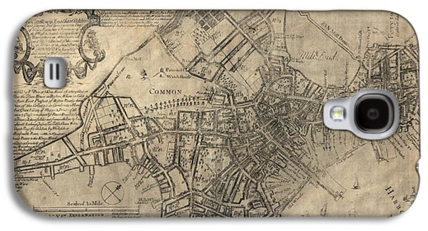 Map Drawings Galaxy S4 Cases - Antique Map of Boston by William Price - 1769 Galaxy S4 Case by Blue Monocle