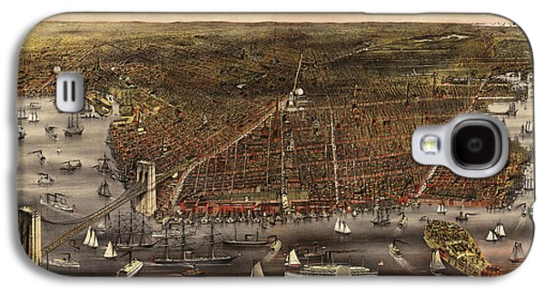 Cities Drawings Galaxy S4 Cases - Antique Map of Brooklyn by Currier and Ives - circa 1879 Galaxy S4 Case by Blue Monocle