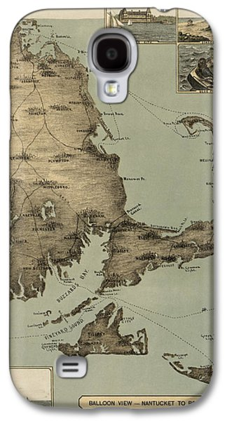 Map Drawings Galaxy S4 Cases - Antique Map of Cape Cod Massachusetts by J. H. Wheeler - 1885 Galaxy S4 Case by Blue Monocle