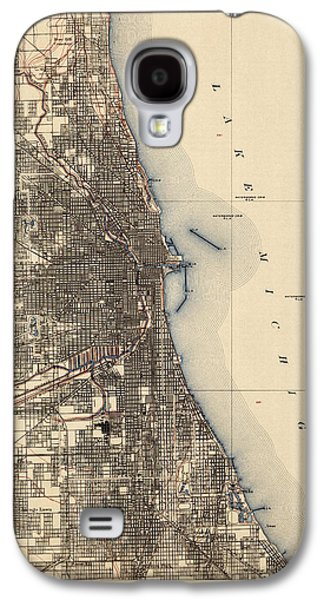 Map Drawings Galaxy S4 Cases - Antique Map of Chicago - USGS Topographic Map - 1901 Galaxy S4 Case by Blue Monocle