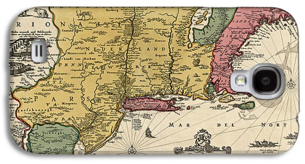 New Drawings Galaxy S4 Cases - Antique Map of Colonial America by Nicolaes Visscher - 1685 Galaxy S4 Case by Blue Monocle