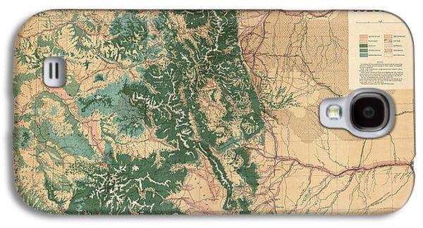 Colorado Galaxy S4 Cases - Antique Map of Colorado - 1877 Galaxy S4 Case by Blue Monocle