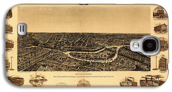 Historic Site Drawings Galaxy S4 Cases - Antique Map of Dallas 1892 Galaxy S4 Case by Mountain Dreams