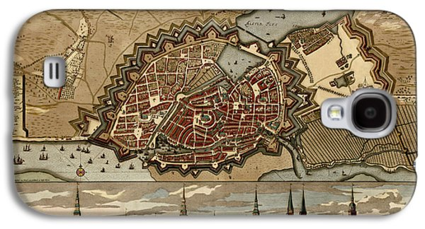 Hamburg Galaxy S4 Cases - Antique Map of Hamburg Germany by Pieter Schenk - circa 1702 Galaxy S4 Case by Blue Monocle