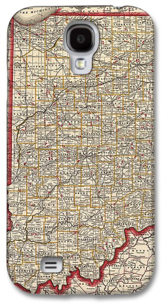 Franklin Drawings Galaxy S4 Cases - Antique Map of Indiana by George Franklin Cram - 1888 Galaxy S4 Case by Blue Monocle