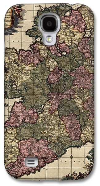 Ireland Galaxy S4 Cases - Antique Map of Ireland by Frederik de Wit - circa 1700 Galaxy S4 Case by Blue Monocle