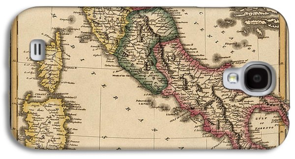 Map Drawings Galaxy S4 Cases - Antique Map of Italy by Fielding Lucas - circa 1817 Galaxy S4 Case by Blue Monocle