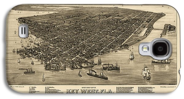 Antique Map Of Key West Florida By J. J. Stoner - 1884 Galaxy S4 Case by Blue Monocle