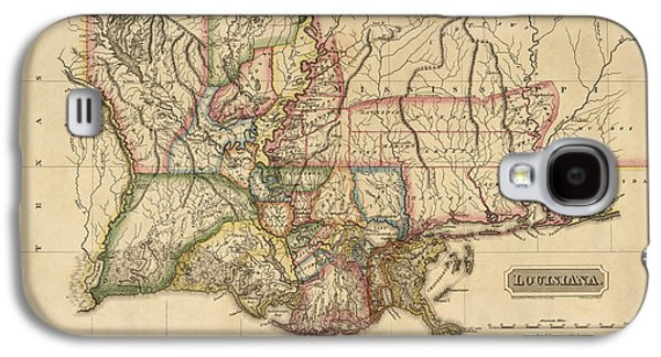 Map Drawings Galaxy S4 Cases - Antique Map of Louisiana by Fielding Lucas - circa 1817 Galaxy S4 Case by Blue Monocle