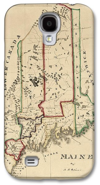 Maine Galaxy S4 Cases - Antique Map of Maine by A. T. Perkins - circa 1820 Galaxy S4 Case by Blue Monocle