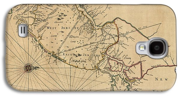 New Drawings Galaxy S4 Cases - Antique Map of New Jersey by John Worlidge - 1706 Galaxy S4 Case by Blue Monocle