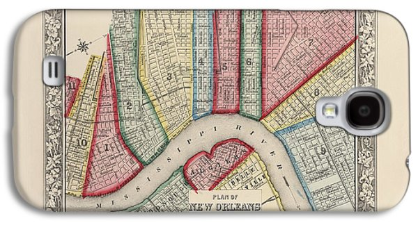 New Drawings Galaxy S4 Cases - Antique Map of New Orleans Louisiana by Samuel Augustus Mitchell - 1863 Galaxy S4 Case by Blue Monocle