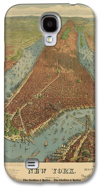Cities Drawings Galaxy S4 Cases - Antique Map of New York City - 1879 Galaxy S4 Case by Blue Monocle