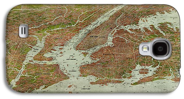 Cities Drawings Galaxy S4 Cases - Antique Map of New York City by Jacob Ruppert - 1912 Galaxy S4 Case by Blue Monocle