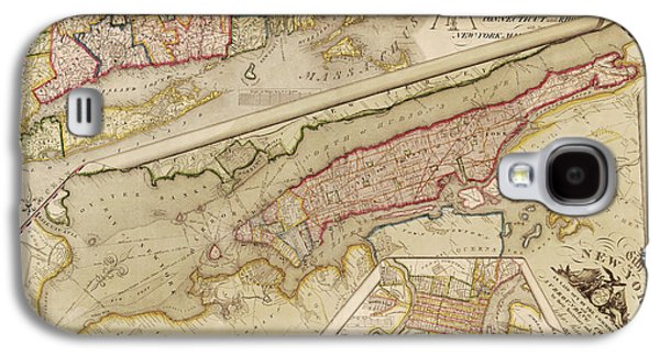 Cities Drawings Galaxy S4 Cases - Antique Map of New York City by John Randel - 1821 Galaxy S4 Case by Blue Monocle