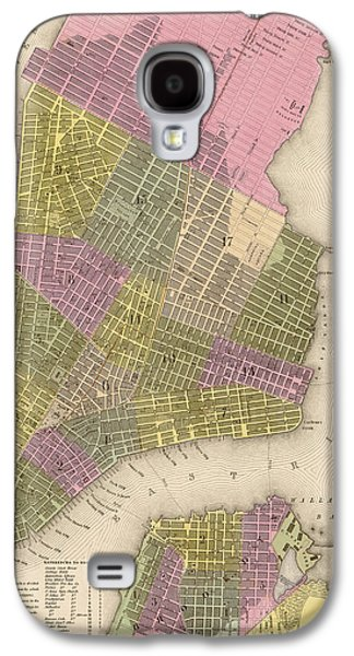 Cities Drawings Galaxy S4 Cases - Antique Map of New York City by Samuel Augustus Mitchell - 1849 Galaxy S4 Case by Blue Monocle