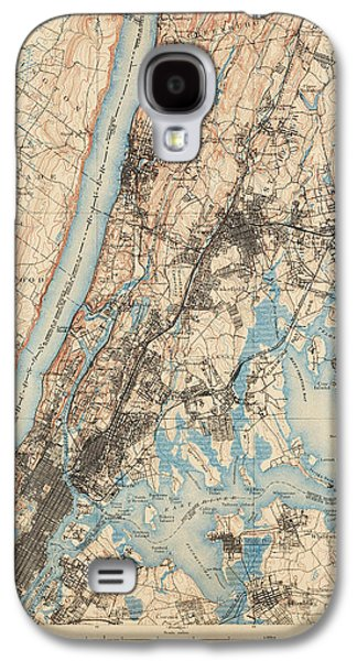 Antique Map Of New York City - Usgs Topographic Map - 1900 Galaxy S4 Case by Blue Monocle