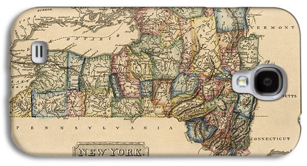 Cities Drawings Galaxy S4 Cases - Antique Map of New York State by Fielding Lucas - circa 1817 Galaxy S4 Case by Blue Monocle