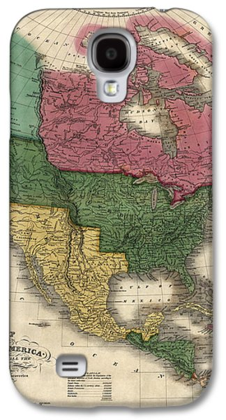 North Drawings Galaxy S4 Cases - Antique Map of North America by D. H. Vance - 1826 Galaxy S4 Case by Blue Monocle
