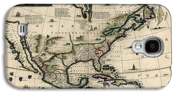North Drawings Galaxy S4 Cases - Antique Map of North America by Jan Jansson - circa 1652 Galaxy S4 Case by Blue Monocle