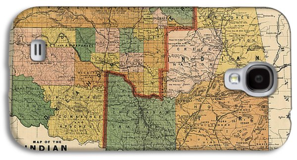 Antique Map Of Oklahoma By Rand Mcnally And Company - 1892 Galaxy S4 Case by Blue Monocle