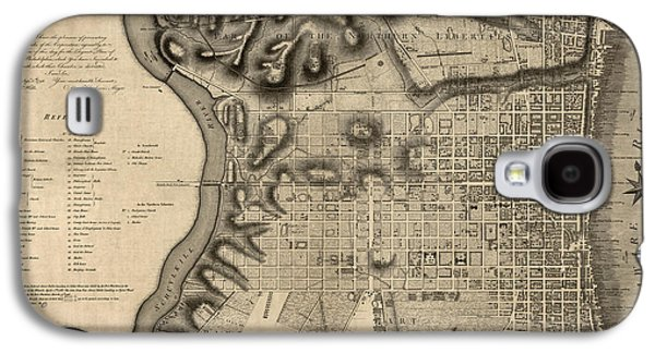 Philadelphia Drawings Galaxy S4 Cases - Antique Map of Philadelphia by John Hills - 1797 Galaxy S4 Case by Blue Monocle