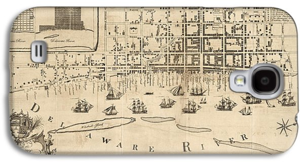 Nicholas Galaxy S4 Cases - Antique Map of Philadelphia by Nicholas Scull - 1762 Galaxy S4 Case by Blue Monocle