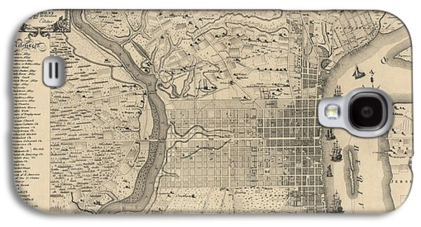Antique Map Of Philadelphia By P. C. Varte - 1875 Galaxy S4 Case by Blue Monocle