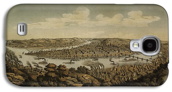 Pittsburgh Galaxy S4 Cases - Antique Map of Pittsburgh Pennsylvania by Otto Krebs - 1874 Galaxy S4 Case by Blue Monocle