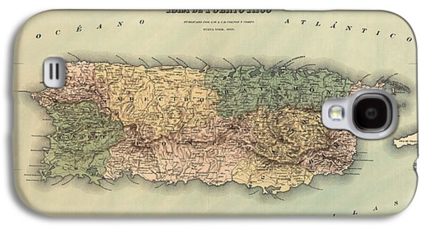 Puerto Rico Galaxy S4 Cases - Antique Map of Puerto Rico - 1886 Galaxy S4 Case by Blue Monocle