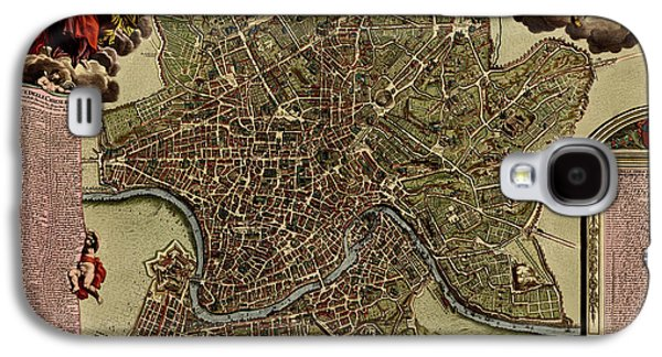 Rome Galaxy S4 Cases - Antique Map of Rome by Jacob De La Feuille - circa 1710 Galaxy S4 Case by Blue Monocle