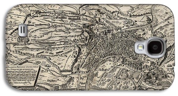 Rome Galaxy S4 Cases - Antique Map of Rome Italy by Sebastianus Clodiensis - 1561 Galaxy S4 Case by Blue Monocle