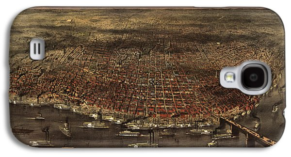 Saints Drawings Galaxy S4 Cases - Antique Map of Saint Louis by Currier and Ives - 1874 Galaxy S4 Case by Blue Monocle