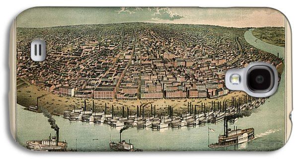 Saints Drawings Galaxy S4 Cases - Antique Map of Saint Louis Missouri by A. Janicke and Co. - circa 1859 Galaxy S4 Case by Blue Monocle