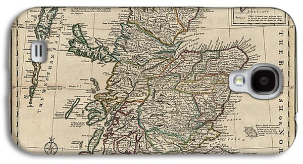 Scotland Galaxy S4 Cases - Antique Map of Scotland by Emanuel Bowen - 1752 Galaxy S4 Case by Blue Monocle